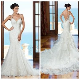 Discount vestidos wedding dress lace - Vogue 2018 Beautiful Slim Mermaid Lace Wedding Dresses Beaded Crystal Ruffles Sexy Backless Spring Garden Bridal Gowns Long Vestidos