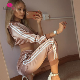 dress red stripe Promo Codes - WannaThis 2017 Autumn Winter Satin Sets Women Zipper Side Stripe Crop Tops Drawstring Calf Length Pants Sexy Workout Tracksuits