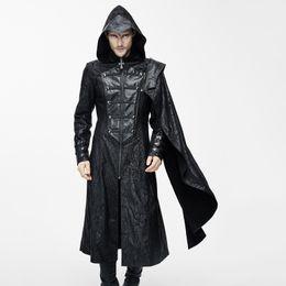 Wholesale Long Black Coat Gothic - Wholesale-Devil Fashion Gothic Vintage Hooded Long Coat for Men Punk Faux Leather Handsome Jackets with Detachable Shawls Black Overcoats