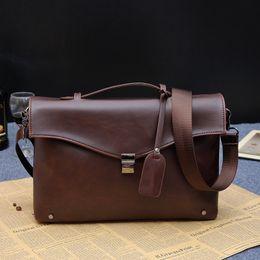 Wholesale Briefcase Portfolio Woman - 2016 Briefcase crazy horse Men Leather Bags Male Shoulder brief case Business Bags portfolio Men Briefcases Laptop bag