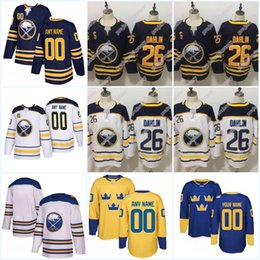 26 Rasmus Dahlin Buffalo Sabres Jersey Winter Classic World Cup Team  Sweden 2018 Hockey 21 Kyle Okposo Custom Name Number Navy White Stitch a349653f4