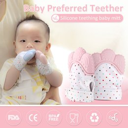 Wholesale Gloves Cartoon - New Arrival Silicone Baby Mitt Teething Mitten Teething Glove Candy Wrapper Sound Teether for 3~12 Month