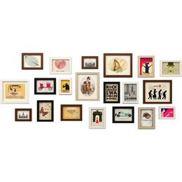 Telai di legno poco costosi online-Simple Modern Style Wooden Wall Photo Frame 20 pezzi economici Photo Frame Set Wedding Decor Wall Cornici marcos de fotos pared