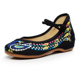 Wholesale Black Flat Mary Jane Shoes - 2017 Chinese Fashion Cloth Shoes Women Embroidery Mary Jane Fabric Flats Traditional Embroidered Old Peking Peacock Canvas Flats