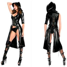 Wholesale Sex Pvc Dress - Faux Leather Latex Wetlook PVC Sexy Costumes Sex Uniform bdsm Fetish Dresses Underwear Erotic Club Lingeries Set Clothes+Panties