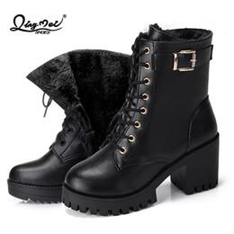bottes de neige étanches pour femmes Promotion QINGMEI 2018 femmes bottes mode dames hiver en peluche chaude femmes hiver imperméable à l'eau laçage plate-forme neige bottes mi-mollet