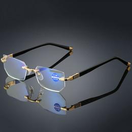2019 großhandel runde bilderrahmen Hochwertige Lesebrillen Presbyopie Brille Klarglas Linse Unisex Randlos Anti-Blaulicht Brillen Rahmenstärke +1.0 ~ +4.0