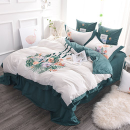 Wholesale Hand Embroidery Bedding Set - 100% Egypt long-staple Pure Cotton Green gorgeous Embroidery 4pcs 6pcs 7pcs Bedding sets Duvet Cover Flat Sheet and Pillowcase home Textiles