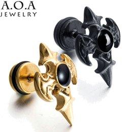 Wholesale Mens Punk Earrings - Charms Glittering Cross Stud Earrings Stainless Steel Punk Rock Earrings Luxury Mens Stud Earrings For Boyfriend Gift