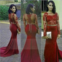 6685c30c48a vestidos longo formatura 2019 - Burgundy Wine Red Prom Dress Sheer Metal  Belt Long Special Occasion