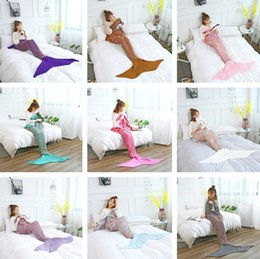 Wholesale air costumes - 180*90cm Adults Fashion Knitted Mermaid Tail Blanket Super Soft Warmer Blankets Bed Sleeping Costume Air-condition Knit Blanket T2I379