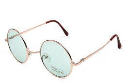 Billige gelbe sonnenbrille online-Weinlese-runde Sonnenbrillefrauen der Männer 2018 billigen Sonnenbrille runde Männer gelbes blaues Grün uv400 Metall