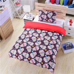 elegante cama queen size conjuntos Desconto 3 pcs crânio floral bedding set capa de edredão elegante esqueleto adultos roupas de cama king size queen colchas de flores coloridas conjunto
