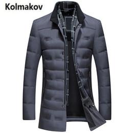 Wholesale Hat Scarf Button - KOLMAKOV 2017 new winter high quality men's fashion Scarf collar warm down jacket parkas,80% white duck down coats men.M-3XL