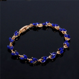 Wholesale food gold leaf - SHUANGR New Trendy 2016 Unique Jewelry Gold Color Leaf Charm AAA+ CZ Crystal Female Bracelets Bangles For Women TG555