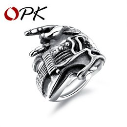 Wholesale band bass - whole saleOPK Punk Men's Biker Ring Bass & Horned Hand Design Stainless Steel Antique White   Gold Color Male Boy Finger Band GJ602