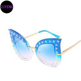 76890550f77 Z F New personality fashion pearl rivet cat eye sunglasses big-name ladies  sunglasses trendy models glasses UV400 66261