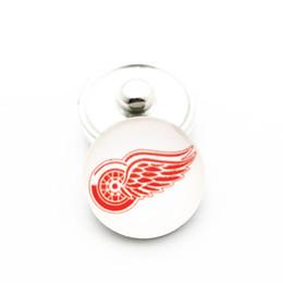 Детройтская хоккейная команда онлайн-Новые 10 шт. / лот NHL Detroit Red Wings Team hockey Спорт 18 мм стекло Snap Button Fit Оснастки браслет ювелирных изделий