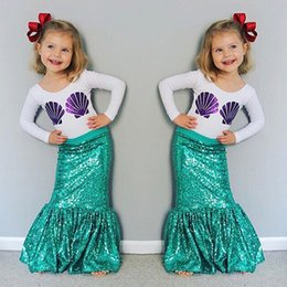 Wholesale White Tail Cosplay - 2016 Halloween Children Girls Mermaid Costume Cosplay Shell Tops + Skirt Green Color Baby Kid Mermaid Tails 2pcs Outfits Costume