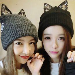 24ad289faa8 Hot Women Warm Winter Beret Lace Rhinestone Cat Ear Crochet Knit Beanie Ski Cap  Hat
