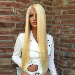 Wholesale Baby Hairline - Beauty Straight Blonde Lace Front Human Hair Wig With Baby Hair Brazilian Virgin Hair #613 Full Lace Wig Pre Plucked Hairline