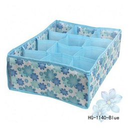 Wholesale modern cell - New 12 Cell Socks Underwear Ties Drawer Closet Home Organizer Storage Box Case Blue Free SHipping