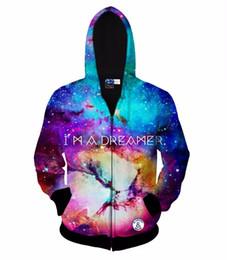 Wholesale galaxy s i - Hip Hop Hoodie I AM A DREAMER space galaxy zipper jacket for Men Women 3d sweatshirt autumn hoody hooded hoodies Asia size S-XXL