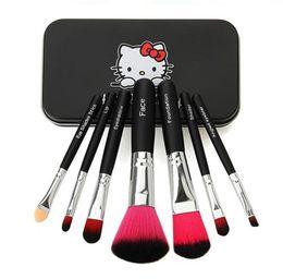 Wholesale New Kitty - Freeship New Hello Kitty Sweet pink black 7 Pcs Mini Makeup brush Set cosmetics kit de pinceis de maquiagem make up brush Kit with Metal box
