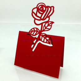 Wholesale Laser Place Cards - 100pcs lot Red Rose Table Decoration Place Card Wedding Party Decoration Laser Cut Heart Floral Wine Glass Paper Place Cards