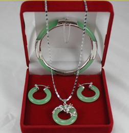 """Lampes suspension en Ligne-noble bracelet en pierre naturelle vert pâle 7.5 """", boucles d'oreilles rondes et pendentif dragon pour un cadeau de Noël et de la Saint-Valentin"""