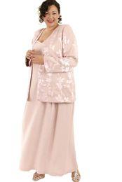 Мать невесты одета атласа шифон онлайн-Розовый Плюс Размер Мать Невесты Платья С Жакетом Кружева Атласная Шифон Аппликация Из Двух Частей Элегантные Вечерние Платья Пром Платье Партии Носить