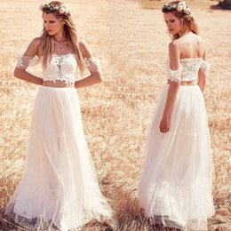 Wholesale Two Piece Dress Boho - vestidos de noiva 2017 Off The Shoulder Boho Wedding Dresses Lace Two Pieces Beach Wedding Dress Bohemian Bridal Gowns robe de mariee