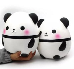 Wholesale Doll Cute - Panda egg Squishy Jumbo Cute Panda Kawaii Cream Scented Kids Toys Doll Gift Fun Collection Stress Relief Toy Hop Props 2018