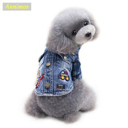 Wholesale Cheap Pet Clothing - 2018 Fashion Pet Cartoon Jean Coat Dogs Fashion Jacket Clothes for Chihuahua Yoreshire Teddy Puppy Newest High Quality Cheap Chothing