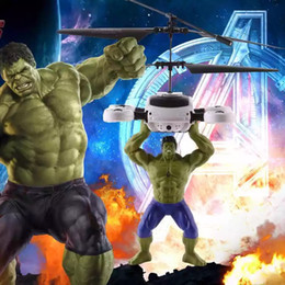 Wholesale rc ball - New Led toys RC Helicopter RC infrared Inductio Captain America Hulk Spider-Man aircraft RC flying ball flying toys kids toys send by EMS