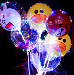 Wholesale 3d Lights - Led Balloon 3D Cartoon BOBO night light up balloons For Christmas wedding party Transparent bear Duck Balloon Flashing Decoration KKA3825