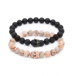 Pietra nera opaca online-Poshfeel Coppia His e Hers Bracciali Distance Black Matte White Beads Cz Crown King Charm Stone Bracciale Lovers Mbr170369