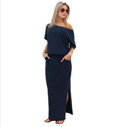 Wholesale one shoulder maxi dresses - New Sexy Summer Women Boho Maxi Dress Short Sleeve Side Slit Loose Evening Party Long Beach Dress with Pocket Vestidos