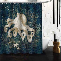 YY612f6 Neue Benutzerdefinierte Vintage Octopus Moderne Duschvorhang badezimmer Wasserdicht lJ-w6 von Fabrikanten