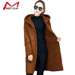 Wholesale Women Sheepskin Jacket - Wholesale- 2017 Women Suede Leather Coats Long Single Buttons Trench Coats Female Winter Jackets Ladies Faux Sheepskin Windbreakers Y1425