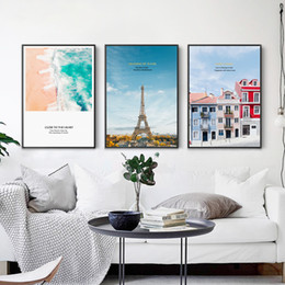 Wholesale paris painting canvas - Modern Canvas Paintings Princess Wall Art Nordic Style Tower Of Paris Posters Prints HD Pictures For Kids Room Home Decoration