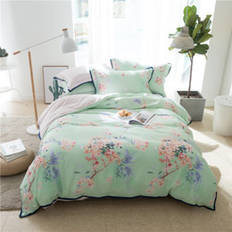 Wholesale Girls Crib Sheets - Super soft tencel cotton Bedding set Bedclothes queen king size flower print girls Bed room set Duvet cover bed sheet pillowcase