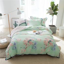 Wholesale King Size Flowered Cotton Sheets - Super soft tencel cotton Bedding set Bedclothes queen king size flower print girls Bed room set Duvet cover bed sheet pillowcase