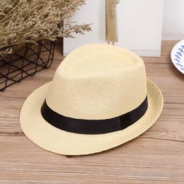 Wholesale Straw Hat Children Wide Brim - Hot fashion jazz straw hats for kids men women Parent-child woven hats wide brim Hats caps For summer beach vacation