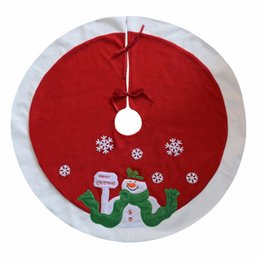 Christmas Tree Skirt 36 Inches In Diameter Embroidered Snowman Snowflake Coupon