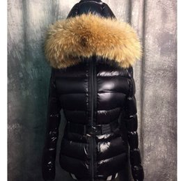 Wholesale fur collar parka - France Luxury Brand Real Raccoon Fur Collar Hood Down Jacket Winter Coat Women Outerwear Slim Parkas Collar Down Jacket Warm Coats