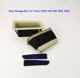 Caixa de armazenamento da porta do carro on-line-Bege Preto Frente Do Carro Da Porta Traseira Da Porta de Armazenamento Arrumar Arrumar Mini Grove Box Para Volvo S60 V60