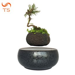 Wholesale magnetic flowers - 2018 magnetic levitation potted plant floating air bonsai tree pot garden beautiful gifts for men free shpping