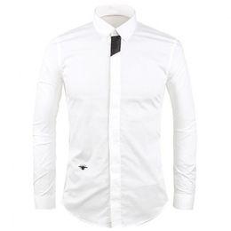 Forma magro da camisa on-line-2018 Novo Pequeno Abelha Bordado Camisa do Homem Casual Slim Fit Camisa de Alta Qualidade Camisa Masculina Chemise Homme Moda Camisa M - 2XL 3XL