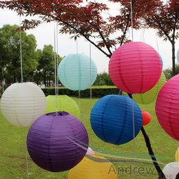 Wholesale Orange Paper Lanterns Wholesale - NEW!(5pcs lot) 8''(20cm) Multicolor Chinese Round Paper Lanterns for Wedding Boda Birthday Kids Festival Decoration Hanging Ball